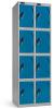 Omklædningsskabe med 4 låger. Omklædningsskabe dimension: bredde = 460mm, dybde = 460mm, højde = 1780mm. 2 sammenbyggede omklædningsskabe . Total bredde =  920 mm
