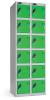 Omklædningsskabe med ialt 12 låger. Omklædningsskabe dimension: bredde = 305mm, dybde = 460mm, højde = 1780mm. 2 sammenbyggede omklædningsskabe . Total bredde =  610 mm