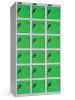 Omklædningsskabe med ialt 18 låger. Omklædningsskabe dimension: bredde = 305mm, dybde = 460mm, højde = 1780mm. 3 sammenbyggede omklædningsskabe . Total bredde =  915 mm