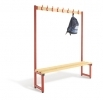 SINGLE SIDE HOOK BENCH with 8 hooks. LENGTH = 1500mm. SEAT DEPTH = 350mm . SEAT HEIGHT = 405mm. A = 1840mm. B = 1205mm